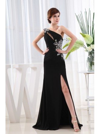 A-line One-shoulder Floor-length Chiffon Evening Dress With Beading