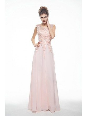 Lace Tank Top Empire Chiffon V-Back Long Dress