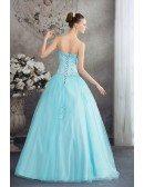 Beautiful Blue Lace Tulle Ballgown Wedding Dress Corset Back
