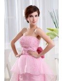 A-line Strapless Asymmetrical Tulle Wedding Dress With Beading
