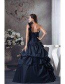 Navy Blue One Shoulder Ruffled Taffeta Color Wedding Dress