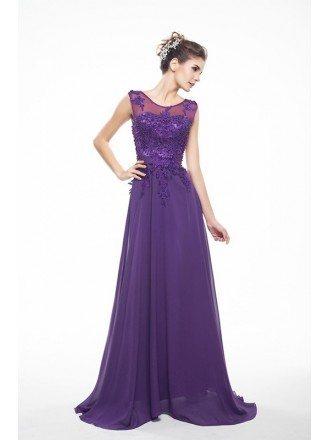 Grape Lace Tank Top Empire Chiffon V-Back Bridesmaid Dress