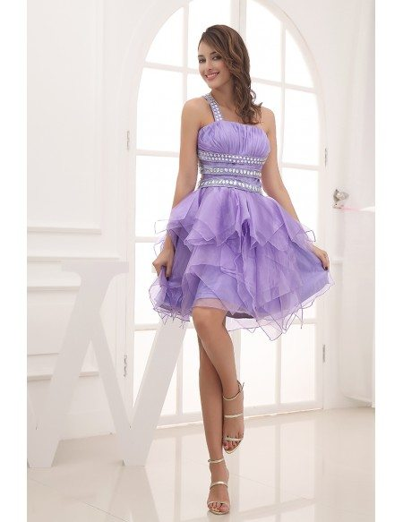 A-line One-shoulder Short Chiffon Prom Dress Dress With Beading