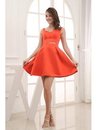A-line Sweetheart Short Satin Cocktail Dress