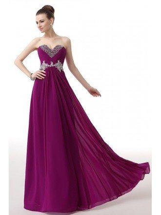 Beaded Neckline Empire Lace Chiffon Long Prom Dress