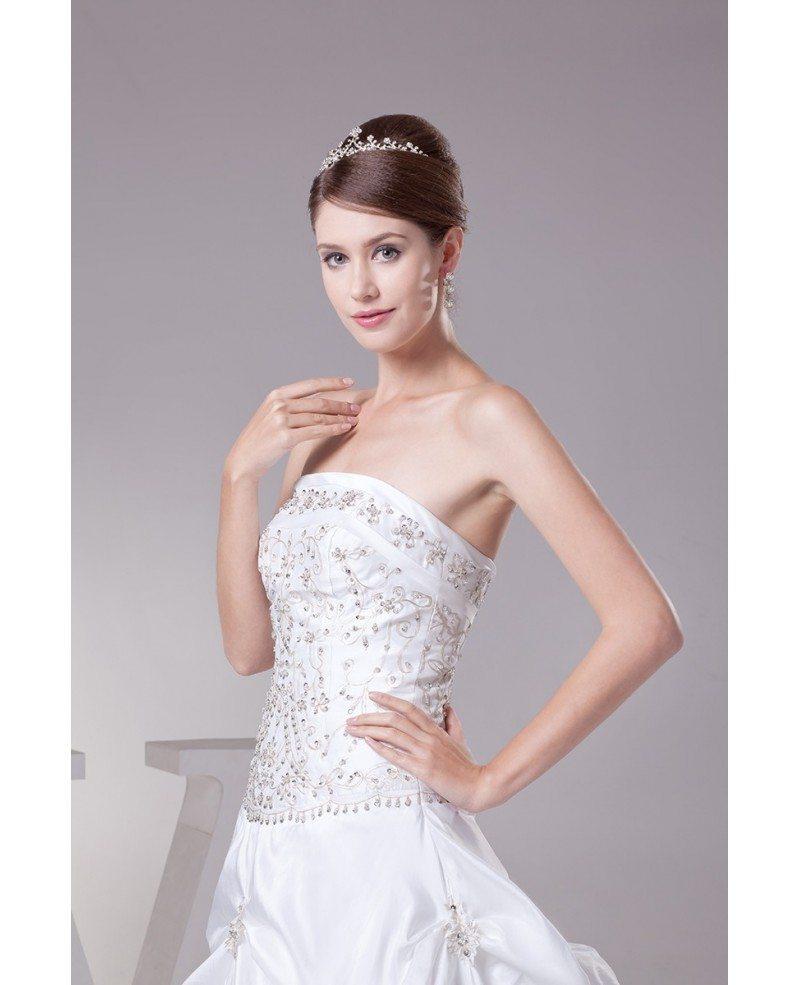 Strapless Embroidered White Taffeta Pickups Wedding Dress