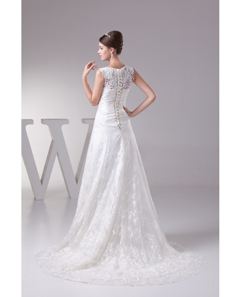 Full Of Lace High Neckline Wedding Dress With Corset Back Oph1292 260 9 Gemgrace Com