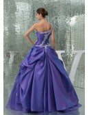 Beautiful Lace One Shoulder Purple Taffeta Color Wedding Gown