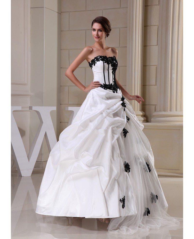 Gothic Black And White Corset Ballgown Taffeta Wedding