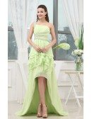 A-line One-shoulder Asymmetrical Chiffon Prom Dress With Beading