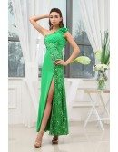 A-line One-shoulder Ankle-length Chiffon Prom Dress With Beading
