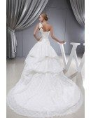 Ivory Lace Ballgown Ruffled Wedding Dress Floral Shoulder