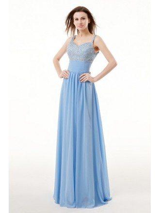 Beautiful Beaded Strap Empired Chiffon Long Prom Dress