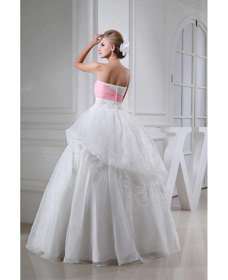 Sweetheart White With Pink Lace Wedding Dress With Color