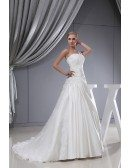 One Strap Lace Satin Pleated Wedding Dress with Corset
