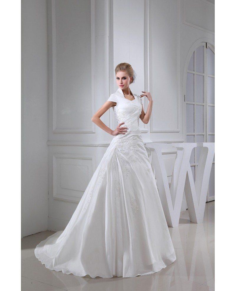 Cap Sleeve Lace Wedding Gown: High Neck Taffeta Cap Sleeved Lace Wedding Dress #OPH1322