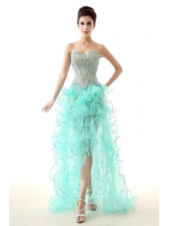 A-Line Sweetheart Asymmetrical Tulle Prom Dress With Appliques Lace Cascading Ruffles