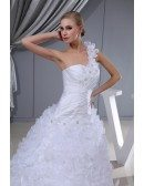 One Shoulder Floral White Custom Wedding Dress