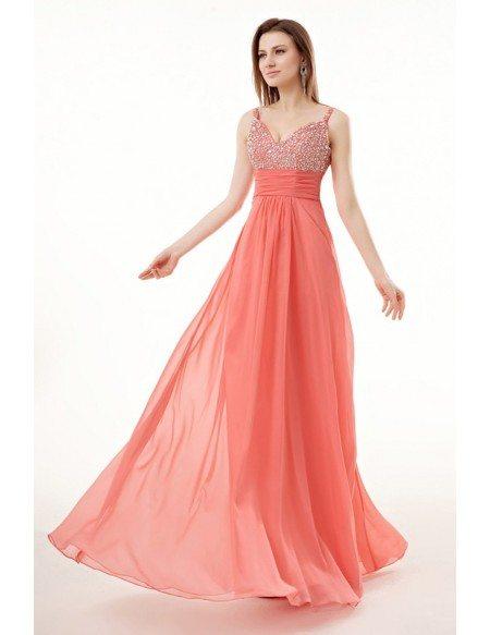 Beautiful Watermelon Beaded Strap Empired Chiffon Long Prom Dress