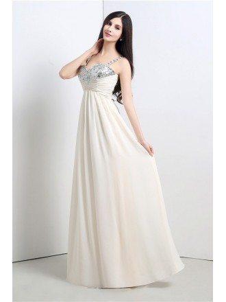 Sheath Sweetheart Spaghetti-strap Floor-length Prom Dress with Beading