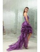 A-line Sweetheart Asymmetrical Tulle Prom Dress With Beading