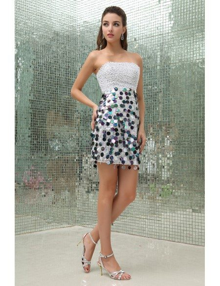 Sheath Strapless Short Sequined Prom Dress