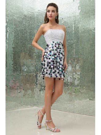Sheath Strapless Short Sequined Prom Dress