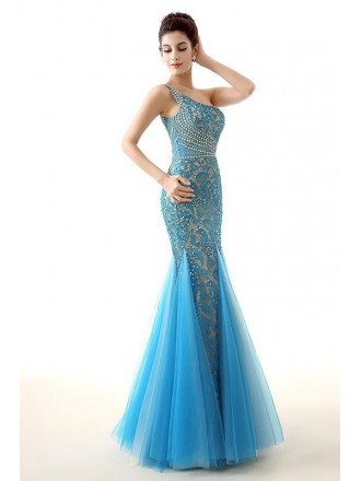 Sheath One-Shoulder Floor-Length Lace Prom Dress With Sequins