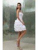 Sheath Strapless Short Satin Prom Dress With Beading