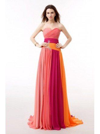Colorful Sweetheart Pleated Chiffon Floor Length Prom Dress