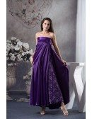 A-line Strapless Ankle-length Lace Satin Mother of the Bride Dress