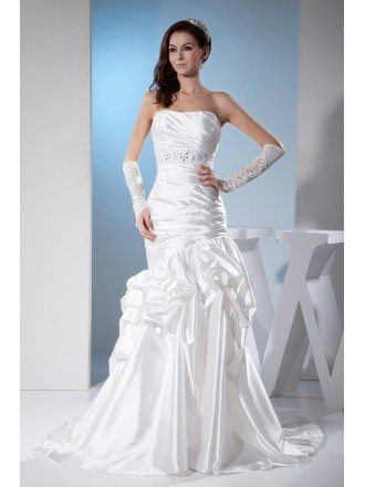 White Sleek Satin Pleated Wedding Dress Ruffled