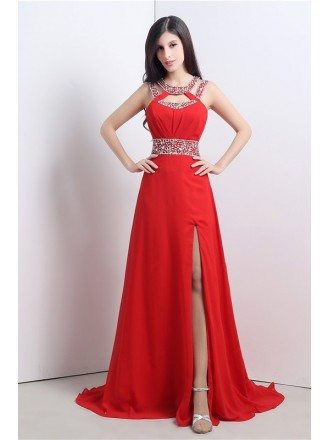 A-line Scoop Court-train Prom Dress with Beading