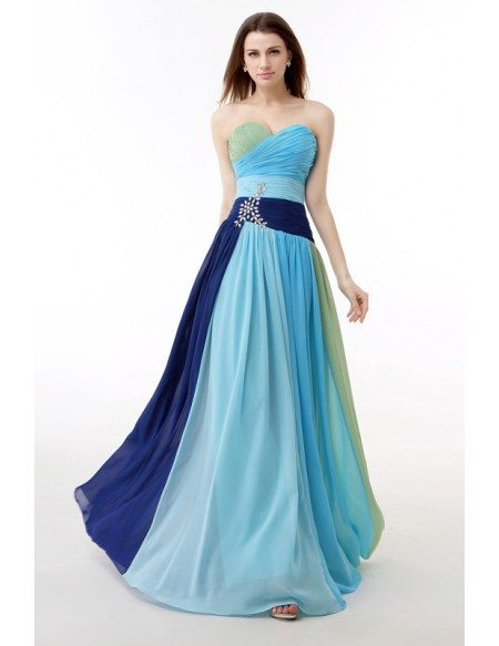 Colorful Sweetheart Pleated Chiffon Floor Length Party Dress
