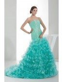 Jade Sequined Sweetheart Cascading Ruffles Color Wedding Dress