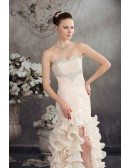 A-line Sweetheart Asymmetrical Chiffon Prom Dress With Beading