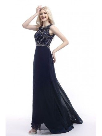 A-Line Scoop Neck Chiffon Prom Dress With Beading