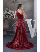 Printed A-line One-shoulder Asymmetrical Satin Wedding Dress