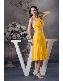 A-line Halter Knee-length Chiffon Homecoming Dress With Beading
