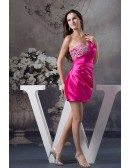Sheath One-shoulder Short Satin Homecoming Dress With Beading