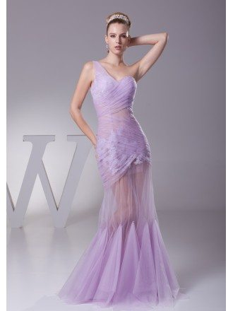 One Shoulder See Through Sexy Tulle Lace Prom Dress in Light Purple Color