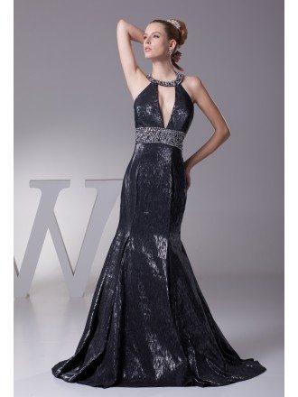 Unique Deep V Beading Black Trumpet Prom Dress
