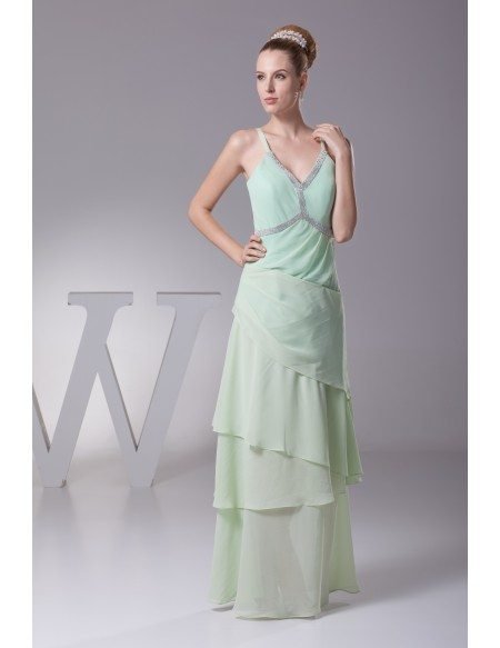 Beaded Long Layered Chiffon Sage Green Mother of the Bride Dress with Spaghetti Straps