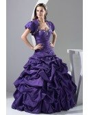 Custom Grape Purple Taffeta Ballgown Formal Dress with Jacket