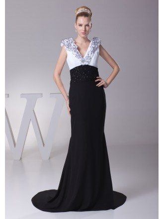 Black and White Beaded Mother of the Bride Dress with V Neck