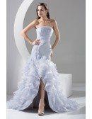 Strapless Grey Organza Cascading Ruffles Split Front Formal Dress