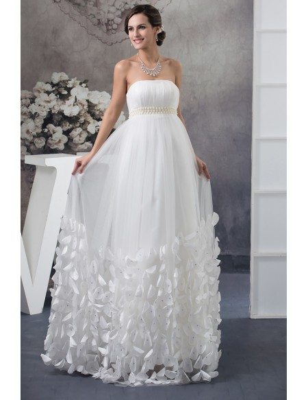 Strapless Beaded Pearls Tulle Maternity Wedding Dress With Petals Oph1402 251 Gemgrace