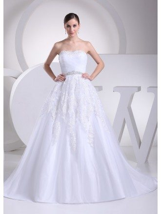 White Lace Organza Train Length Wedding Dress with Bling