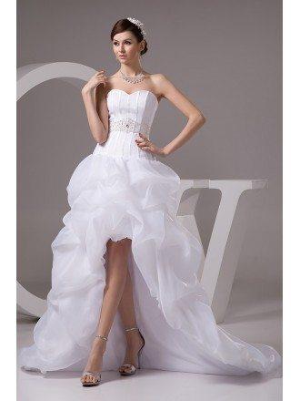 Popular Short Front Long Back Organza Beaded Wedding Dress