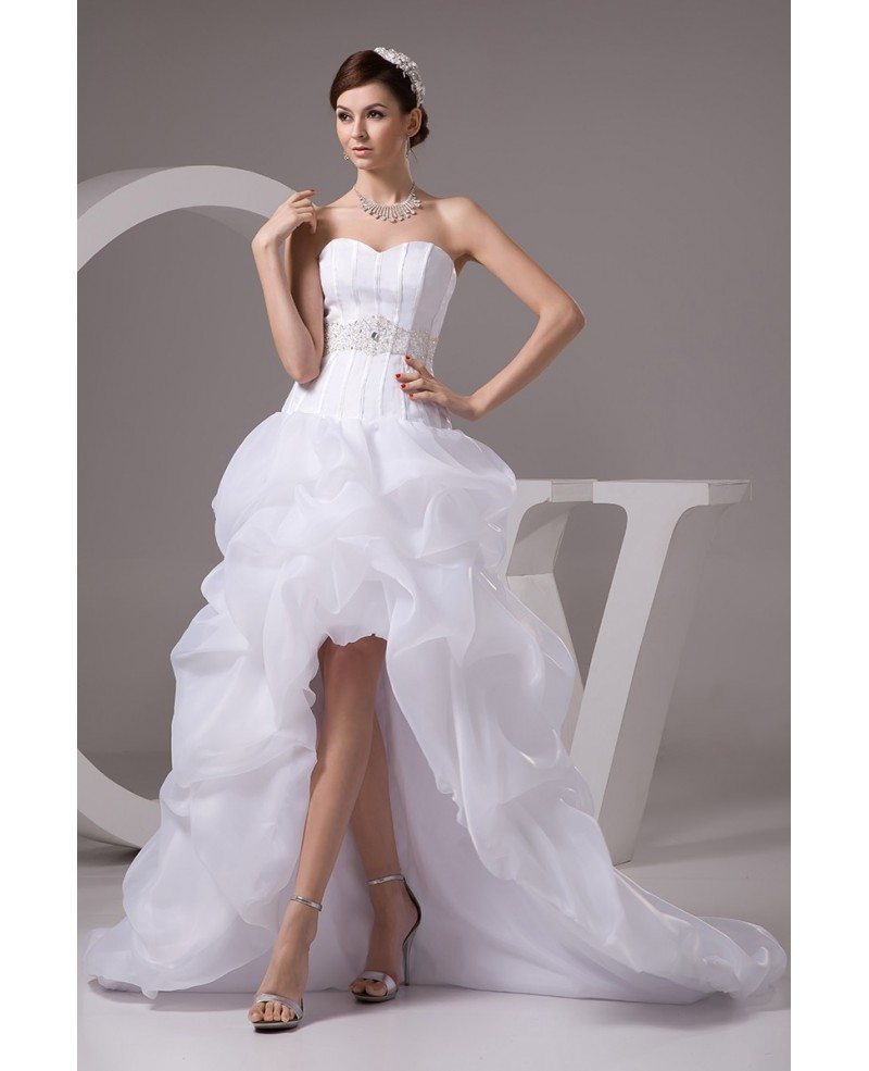 Corset High Low Wedding Dresses Ruffles With Train Popular Short Front Long Back Organza Style Oph1424 269 9 Gemgrace Com